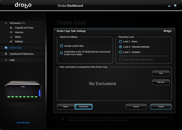 Drobo Copy Advanced Features