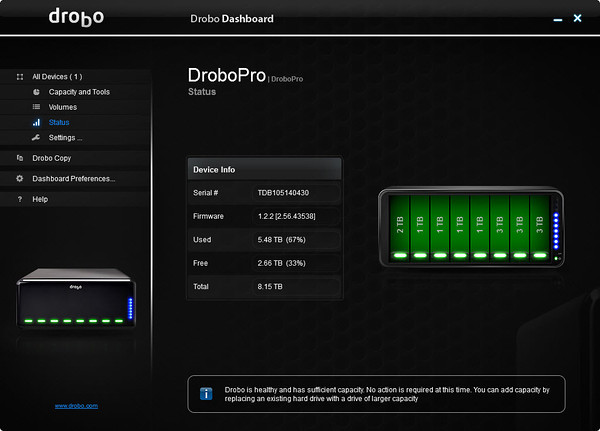 Drobo Dashboard - Status