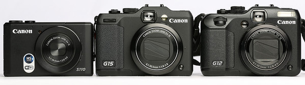 Canon PowerShot s110, G15 and G12 Front View