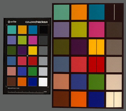 Scan of ColorChecker (left) next to a iP2702 print (right)
