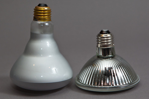 Ordinary bulb on left and Solux on Right