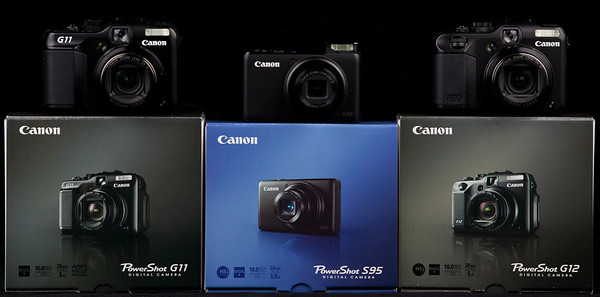 Click to view a larger shot of the Canon Powershot G11, s95 and G12