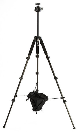 Velbon GEO E540 full extended with the rock pouch attached adn a RRS BH-55 head